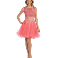 Coral Beaded Lace Applique Two Piece Dress 2015 Homecoming Dresses