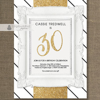 Gold Glitter Birthday Party Invitation Black & White Stripes ANY AGE Milestone Birthday 30 40 50 Printable Digital or Printed - Cassie Style