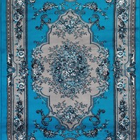 1057 Turquoise Victorian Oriental Area Rugs