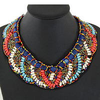 Multicolor Folk Beaded Collar Necklace