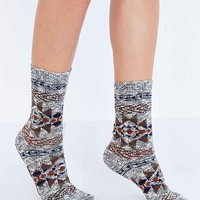 Blanket-Pattern Ankle Sock-