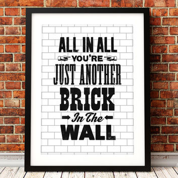 Pink Floyd song lyric art, Pink Floyd art print, music inspired print, typographic print, Another Brick In The Wall, Pink Floyd poster
