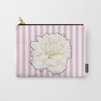 Pale Rose on Stripes Carry-All Pouch by drawingsbylam