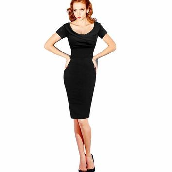 Women's Vintage 50s 60s Short Cocktail Party Dress Sexy Little Black Short Sleeve O Neck Wiggle Bodycon Stretch Midi Dress 2018