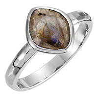 Missoma® Sterling Silver 10x8x5mm Labradorite Ring