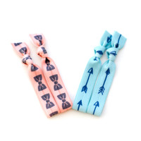 The Bow and Arrow Package - 4 Elastic Patterned Hair Ties that Double as Bracelets by Mane Message on Etsy