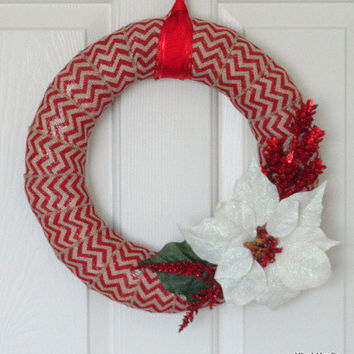 Red Burlap Wreath, Christmas Wreath, Winter Wreath, Chevron Burlap Wreath, Wreath, Door Decor, Home Decor, Chevron Wreath, Floral Wreath