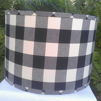Pendant Lamp Shade Drum Black Gray Off White Checkmate Upholstery Fabric Nickel Plated Pendant Socket Top Black Grosgrain and Handmade Trim