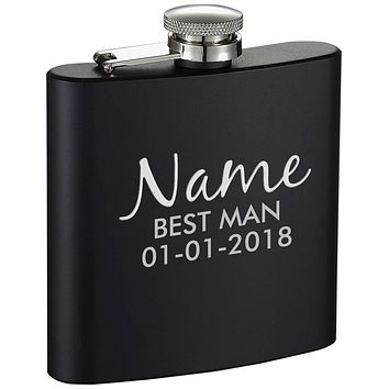 Personalized Wedding Best Man Etched Black 6oz Drinking Flask