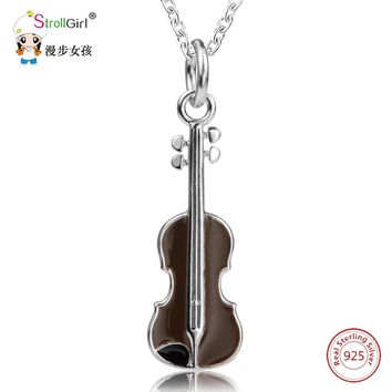 925 Sterling Silver Chain Violin Pendant Choker Necklace Fashion Jewelry Cello Chokers Necklaces & Pendants For Women 2017 Gift