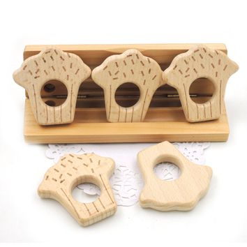 2017 newcoming 20pcs smooth wood cupcakes cookie shaped beech wooden teether toddler nursing toy educational shower gift EA310