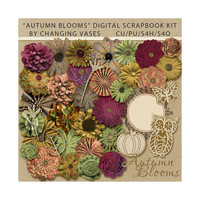 Digital Scrapbooking Kit, Autumn Blooms, Fall Clipart, Nature Clip Art Graphics, Outdoor Flowers Elements, with Owl Pumpkin & Butterfly