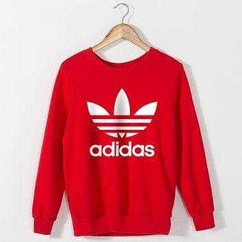 Adidas Women Fashion Casual Scoop Neck Long Sleeve Top Sweater Pullover
