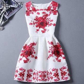 Vintage Women Dress Spring Summer Fashion Print Dresses Sleeveless Sexy Mini Dress Vestidos de festa Women Clothing
