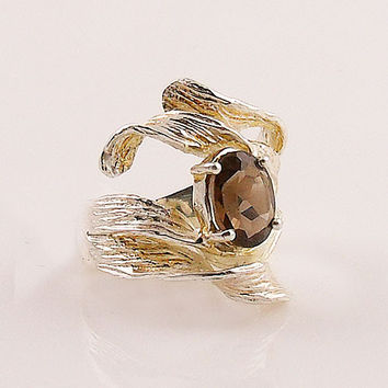 Smoky Quartz Ribbons Sterling Silver Ring