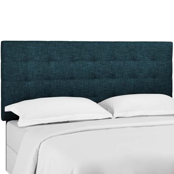 Paisley Tufted King and California King Upholstered Linen Fabric Headboard