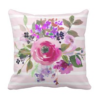 Pink Purple Green Watercolor Floral Pink Stripes Throw Pillow