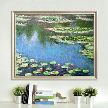 Claude Monet Water lilies Oil painting on Canvas Lotus Pond Wall Pictures for Living room home decor Reproduction Flower painting