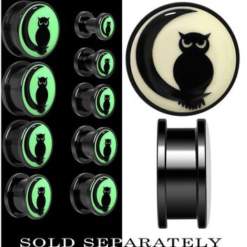 Owl on Moon Glow in the Dark Screw Fit Plug in Anodized Black Titainum