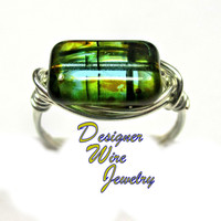 DWJ0313 Lovely Czech Glass Teal Tortoise Shell Silver Wire Wrap Ring All Sizes