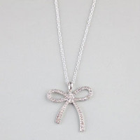 Full Tilt Rhinestone String Bow Necklace Silver One Size For Women 22064614001