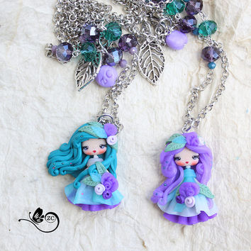 polymer clay necklace / fairy / clay / fimo / zingara creativa /