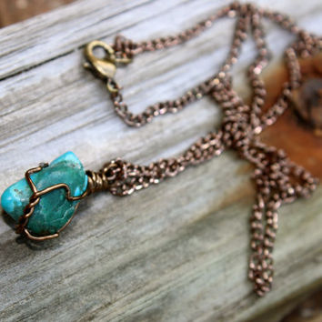 Small Turquoise bronze wire wrapped necklace, Bohemian earthy raw stone necklace