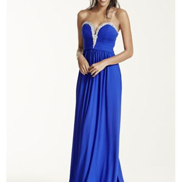 Crystal Embellished V-Plunge Neckline Prom Dress - Davids Bridal