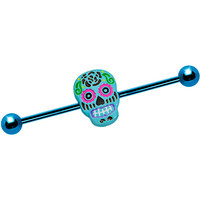 Light Blue Anodized Titanium Baby Blue Sugar Skull Industrial Barbell | Body Candy Body Jewelry