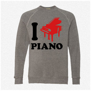 I Love Piano Logo Design fleece crewneck sweatshirt