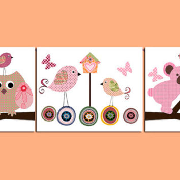 Childrens Art Kids Wall Art Baby Girl Room Decor Baby Girl Nursery Kids Art Baby Nursery Print set of 3 Print Owl Birds Koala Rose Pink