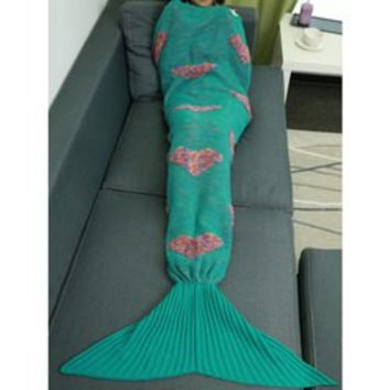 Colorful Peach Heart Crochet Knitting Fish Scales Design Mermaid Tail Style Blanket
