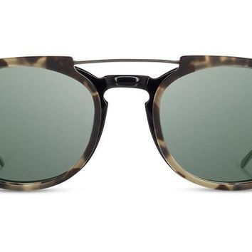 Shwood - Kennedy City Acetate Black Havana Clip Sunglasses / G15 Polarized Lenses