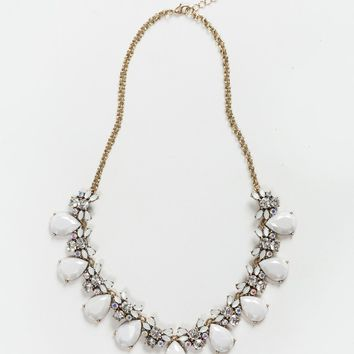 Leanne White Teardrop Crystal Statement Necklace