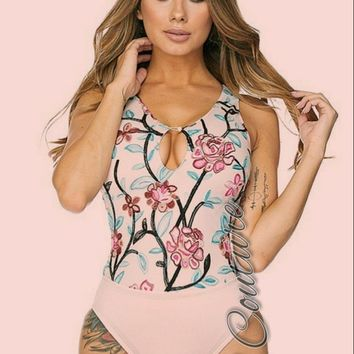 Lottie Floral Embroidered Print Bodysuit