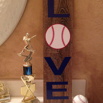 LOVE Baseball Ceramic Tile - Baseball Wooden Sign - Wooden Look Ceramic Tile Basball Sign