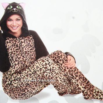 Licensed cool Leopard Animal Kitty Cat ADULT 1PC Costume PJS Fleece Hooded Footed Pajamas Ears