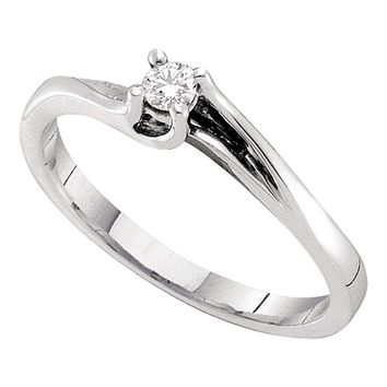 14kt White Gold Women's Round Diamond Solitaire Promise Bridal Ring 1/10 Cttw - FREE Shipping (US/CAN)
