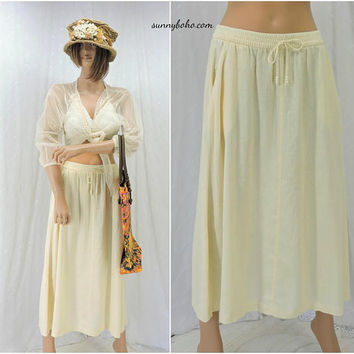 Beige / cream loose fit maxi skirt / size S / vintage 80s unbleached flax blend skirt / boho long woven skirt / SunnyBohoVintage