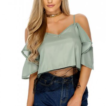 Sexy Light Olive Sheer Shoulder Cutouts Short Sleeve Casual Top