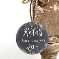 Baby's 1st Christmas Ornament Personalized - Rustic Christmas - Custom Colors - (H-1)