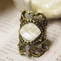 On Sale Victorian Retro Bronze carved Crystal Ring B002