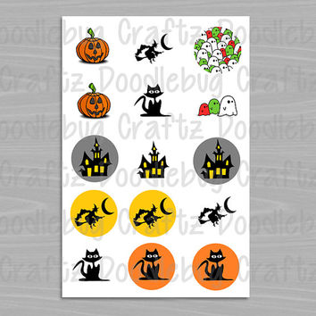 "Halloween - Witch, Haunted House, Ghost, Pumpkin, Black Cat - 1"" circles Bottle Cap Images - Bottlecap - Printable INSTANT DOWNLOAD"