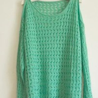Green Sexy Strapless Knit Sweater S000301