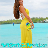Yellow Elegant maxi long dolphin fishing dress, maxi fishing dolphin dress perfect for weddings and cruises