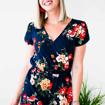 Way To Go Petite Floral Romper in Navy