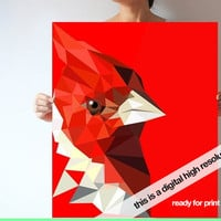 Cardinal bird digital file large 70x50 cm Huge art