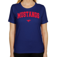 SMU Mustangs Ladies Royal Blue Mascot Arch Classic Fit T-shirt