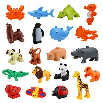 Bulk Big Building Blocks Animals Crocodile Hippo Giraffe Elephant Panda Tiger Bear Butterfly Shark Compatible Toys