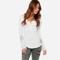 Lace Long-Sleeve Button-Up Shirt